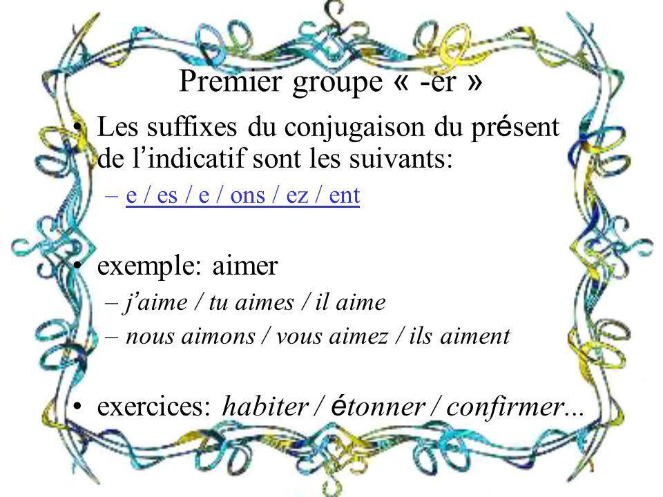 Premier groupe « -er » Les suffixes du conjugaison du présent de l'indicatif sont les suivants: e / es / e / ons / ez / ent.