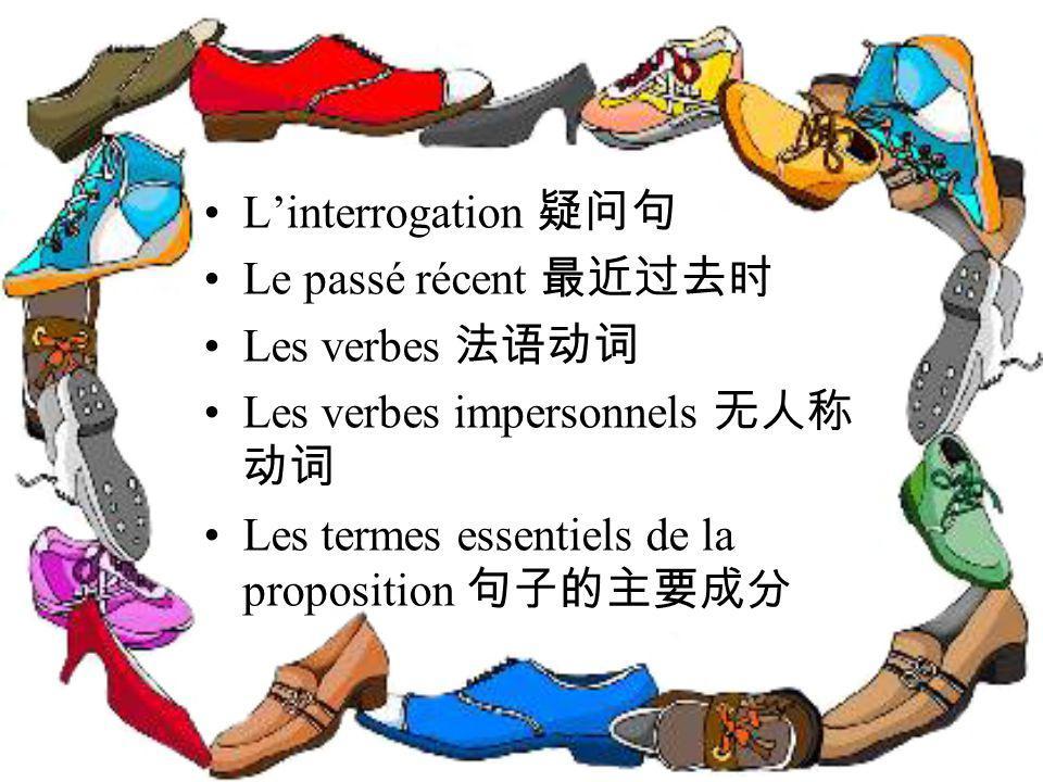 L'interrogation 疑问句 Le passé récent 最近过去时. Les verbes 法语动词.