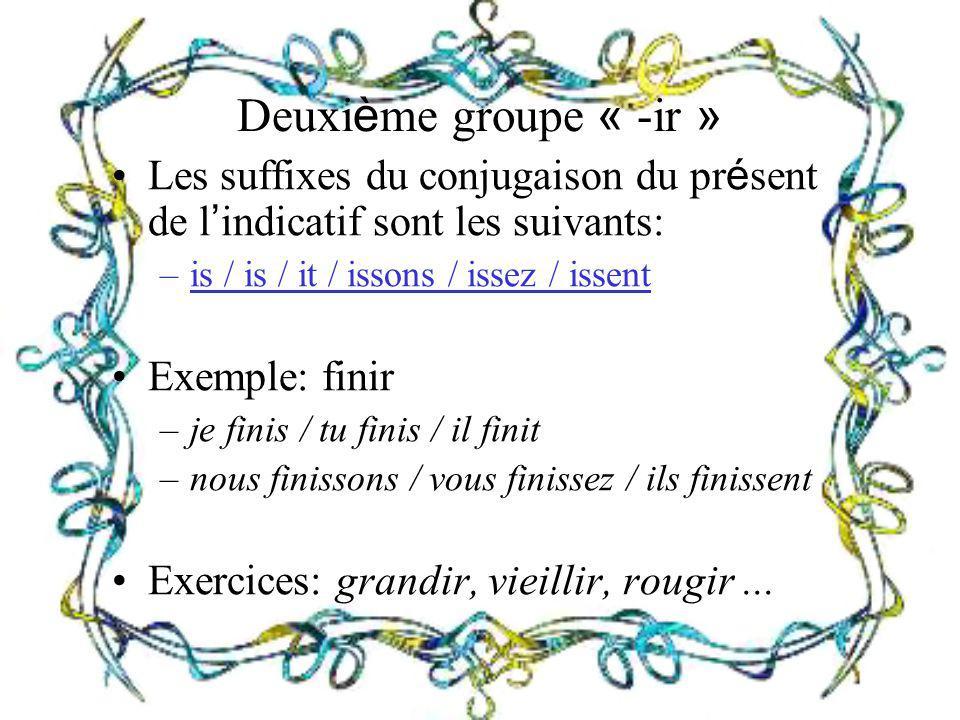 Deuxième groupe « -ir » Les suffixes du conjugaison du présent de l'indicatif sont les suivants: is / is / it / issons / issez / issent.