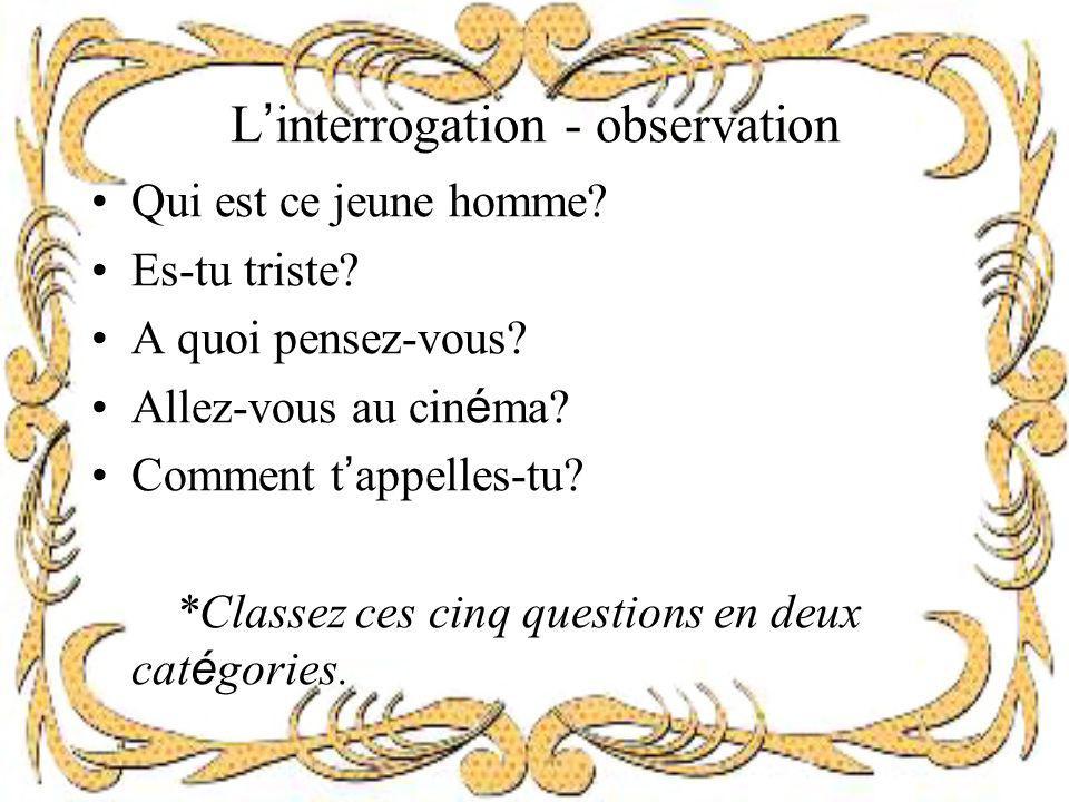 L'interrogation - observation