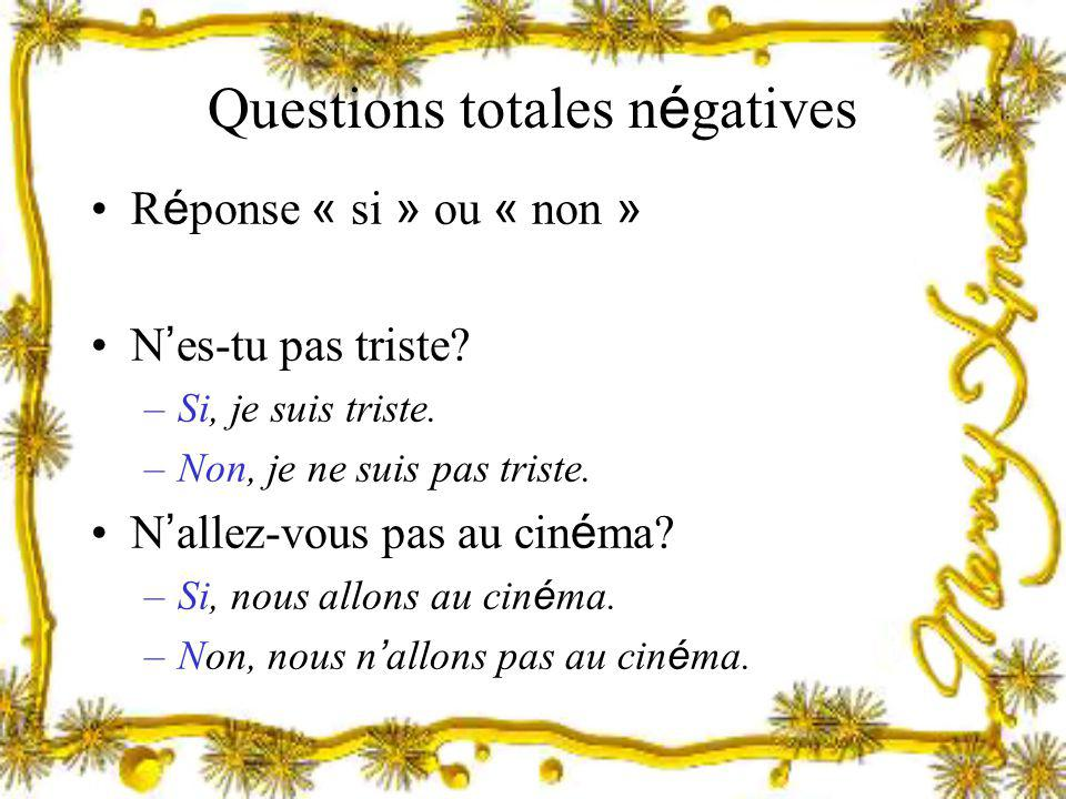 Questions totales négatives