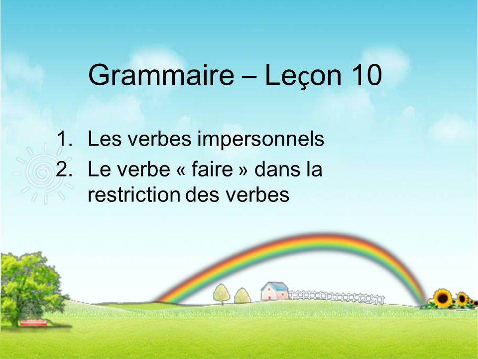 Grammaire – Leçon 10 Les verbes impersonnels