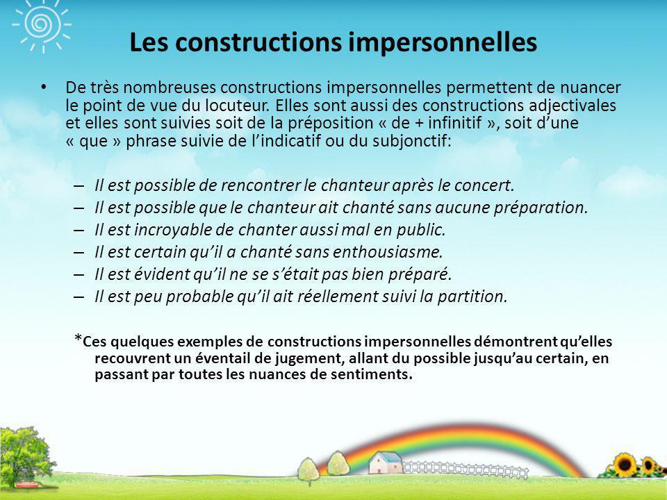 Les constructions impersonnelles