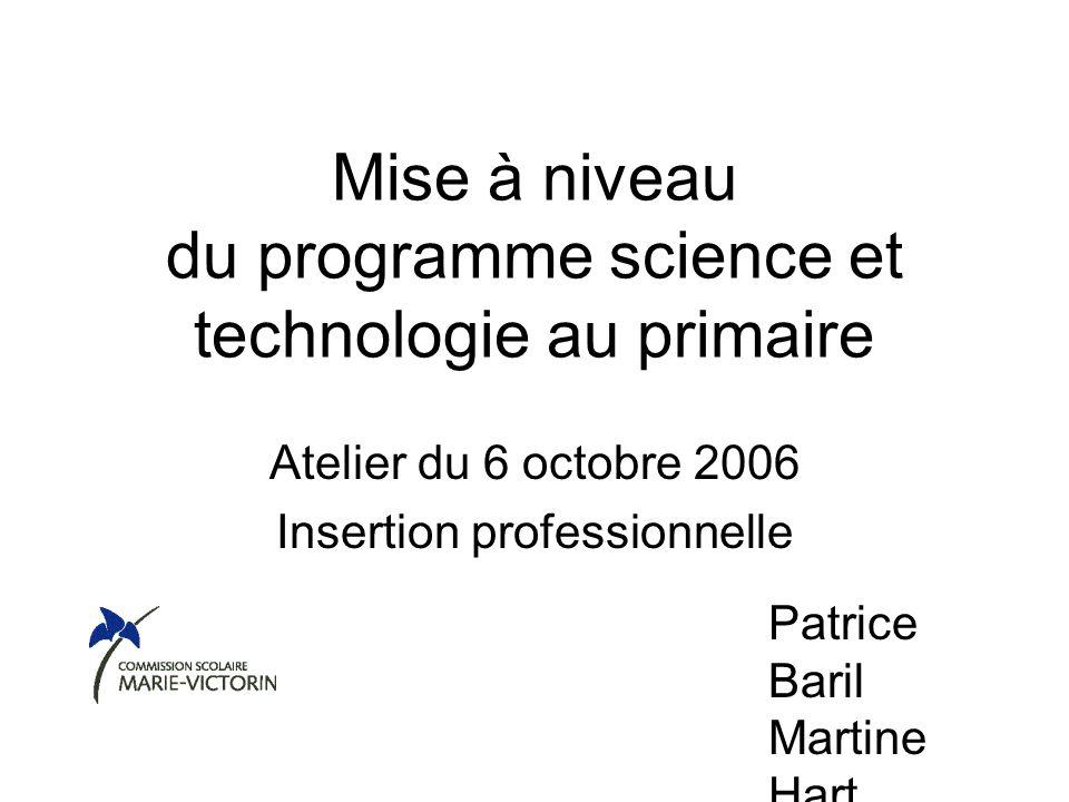 Mise à niveau du programme science et technologie au primaire