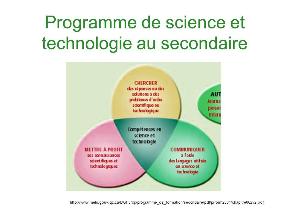 Programme de science et technologie au secondaire