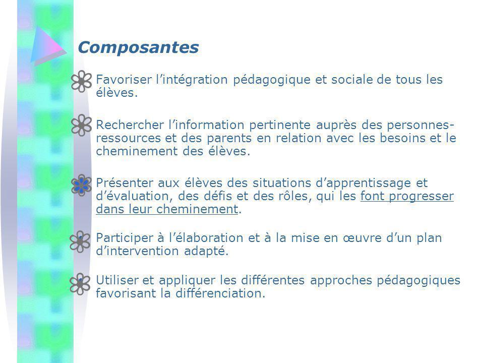 Composantes Favoriser l'intégration pédagogique et sociale de tous les élèves.