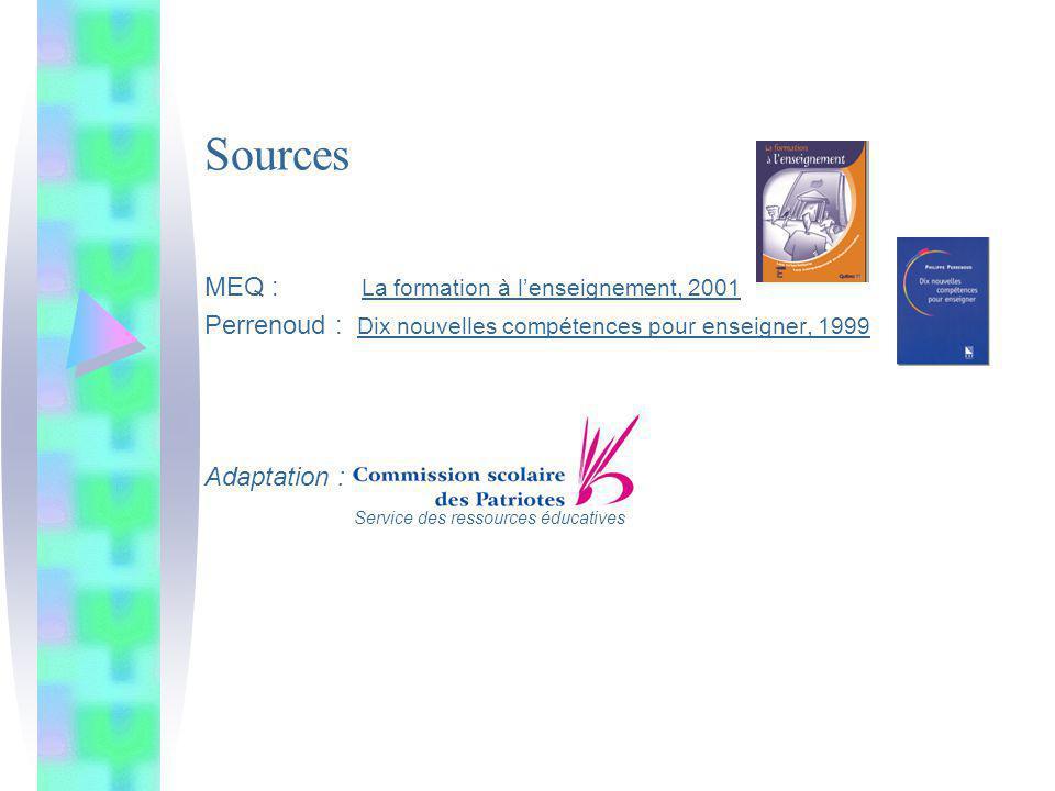 Sources MEQ : La formation à l'enseignement, 2001