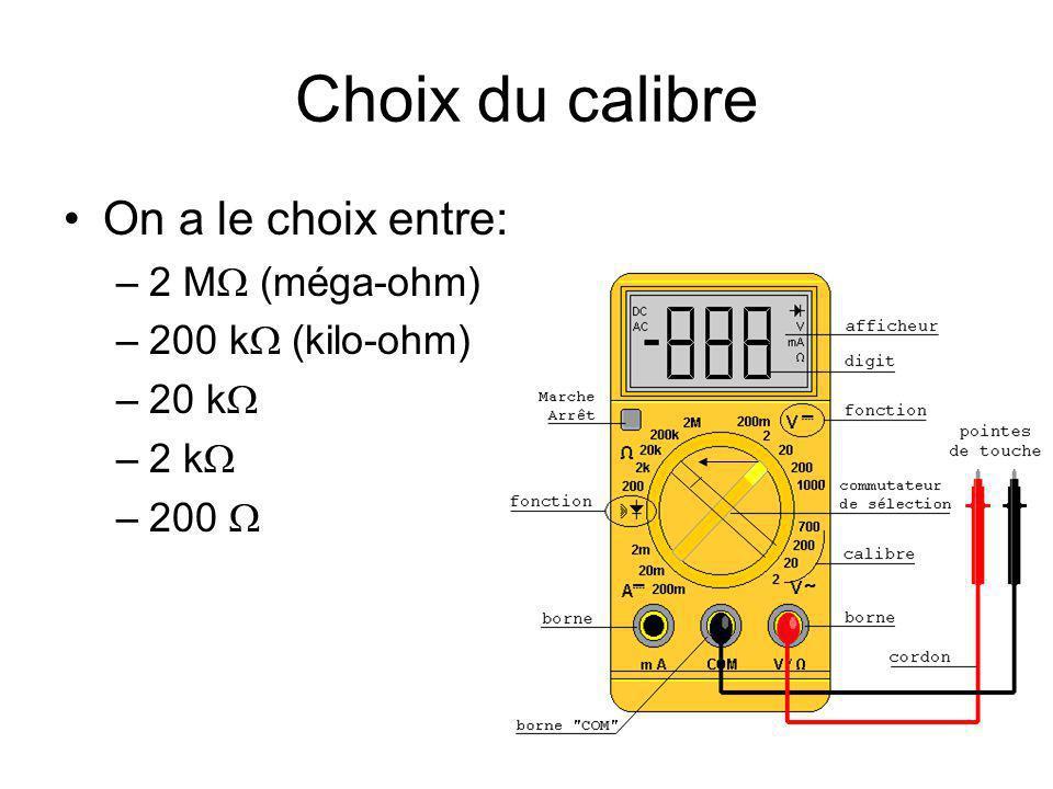 Choix du calibre On a le choix entre: 2 M (méga-ohm)