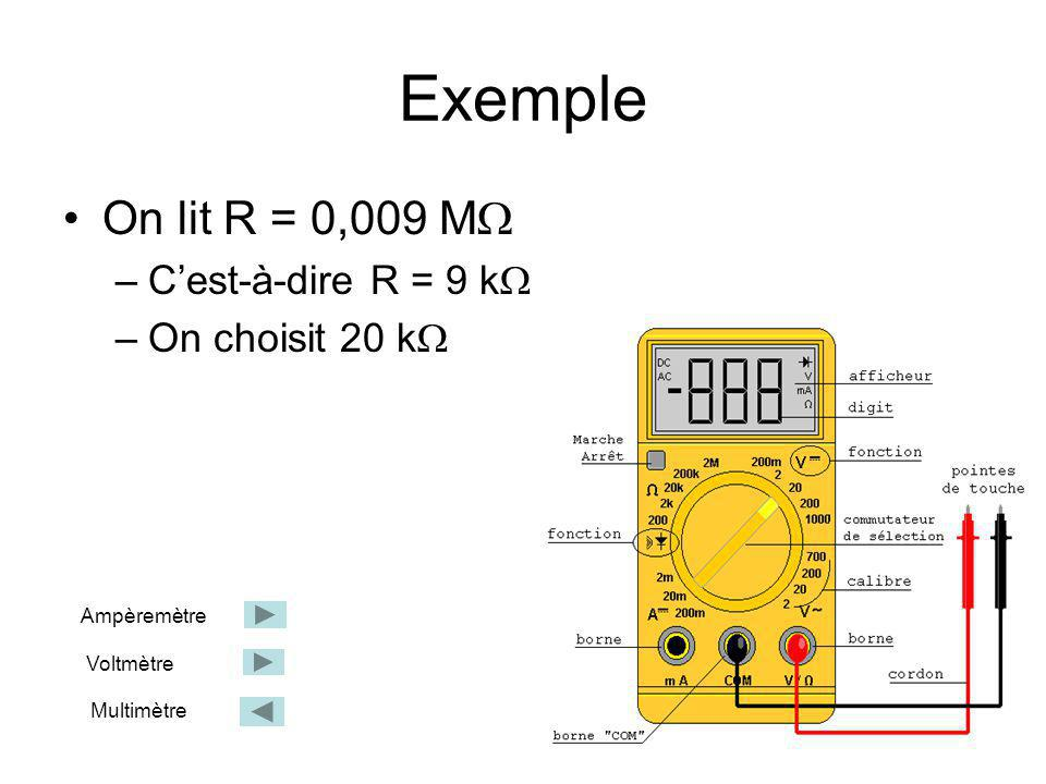 Exemple On lit R = 0,009 M C'est-à-dire R = 9 k On choisit 20 k