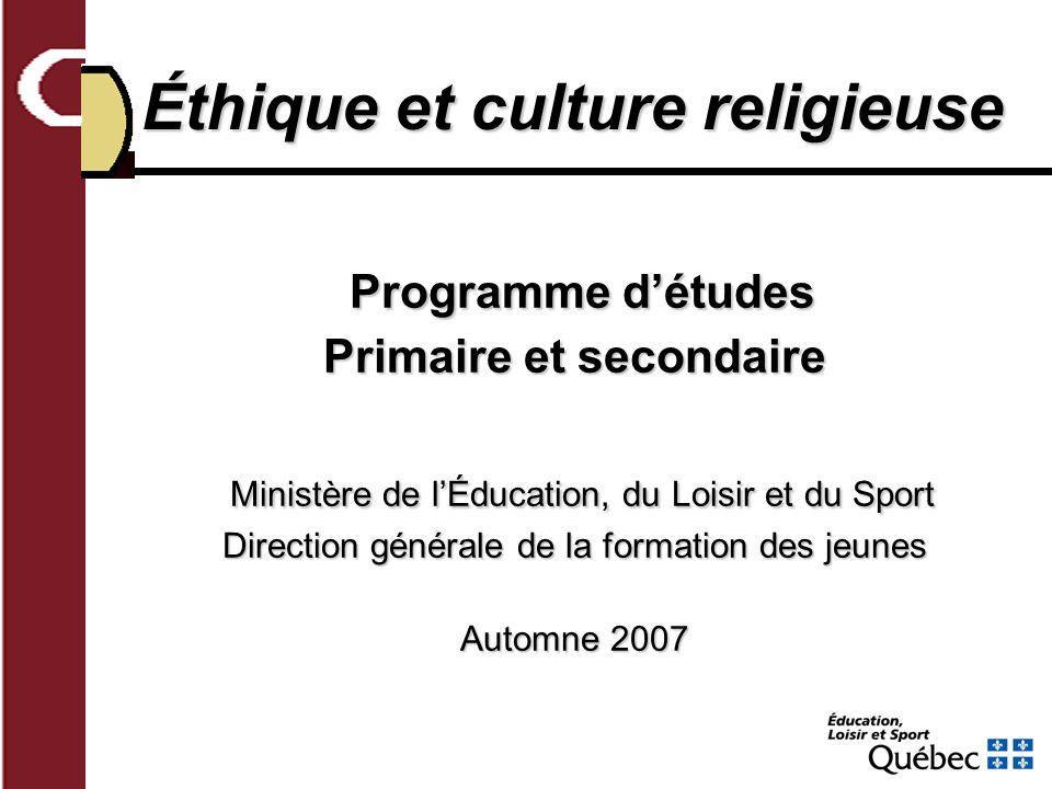 Éthique et culture religieuse Primaire et secondaire