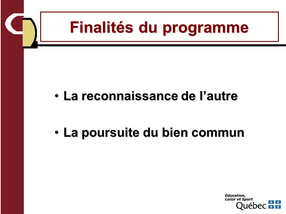 Finalités du programme