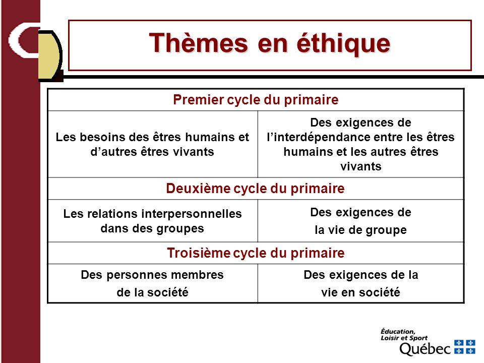 Thèmes en éthique Premier cycle du primaire Deuxième cycle du primaire