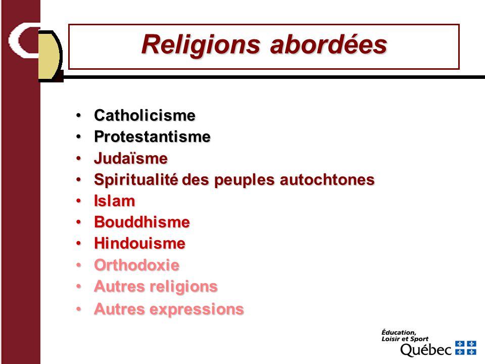 Religions abordées Catholicisme Protestantisme Judaïsme