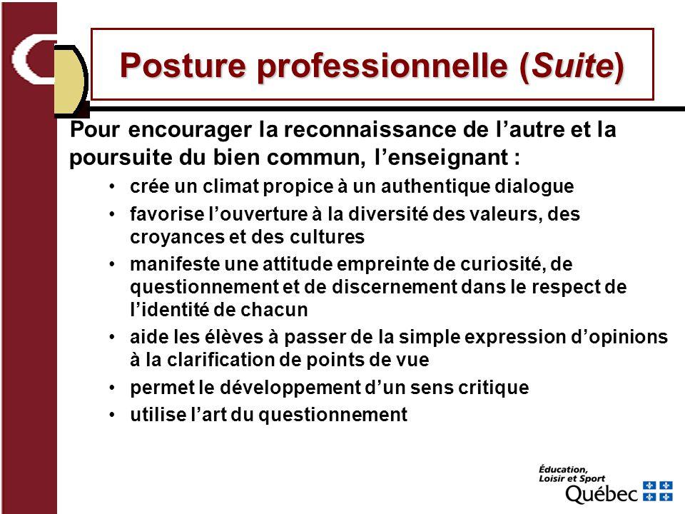 Posture professionnelle (Suite)