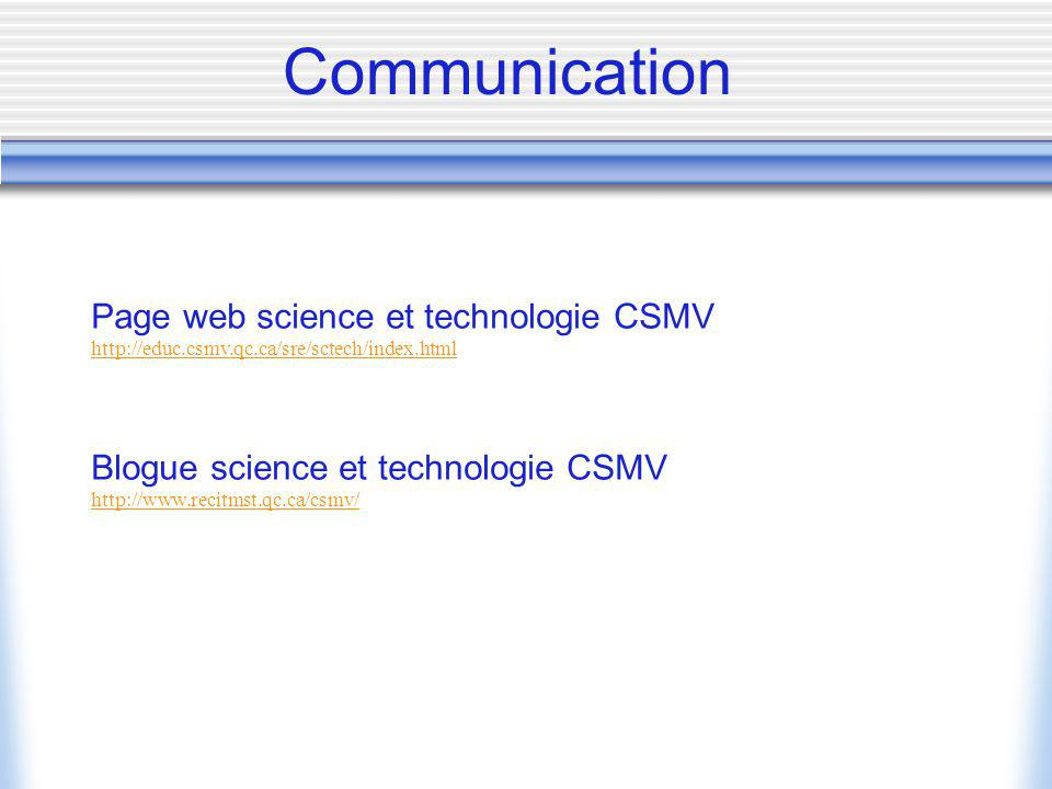 Communication Page web science et technologie CSMV