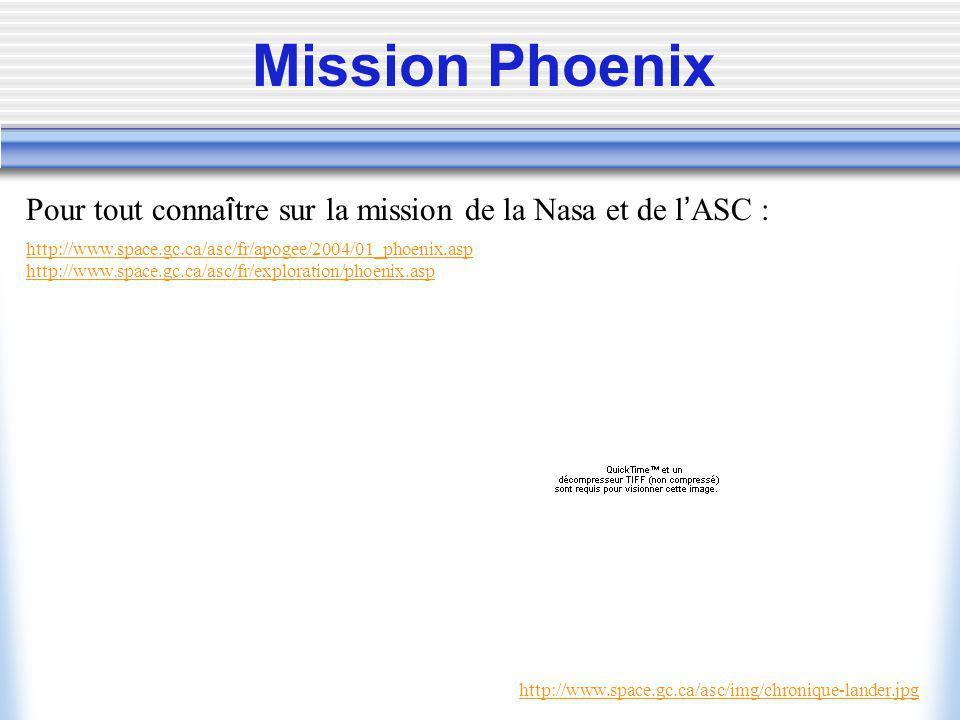 Mission Phoenix Pour tout connaître sur la mission de la Nasa et de l'ASC : http://www.space.gc.ca/asc/fr/apogee/2004/01_phoenix.asp.