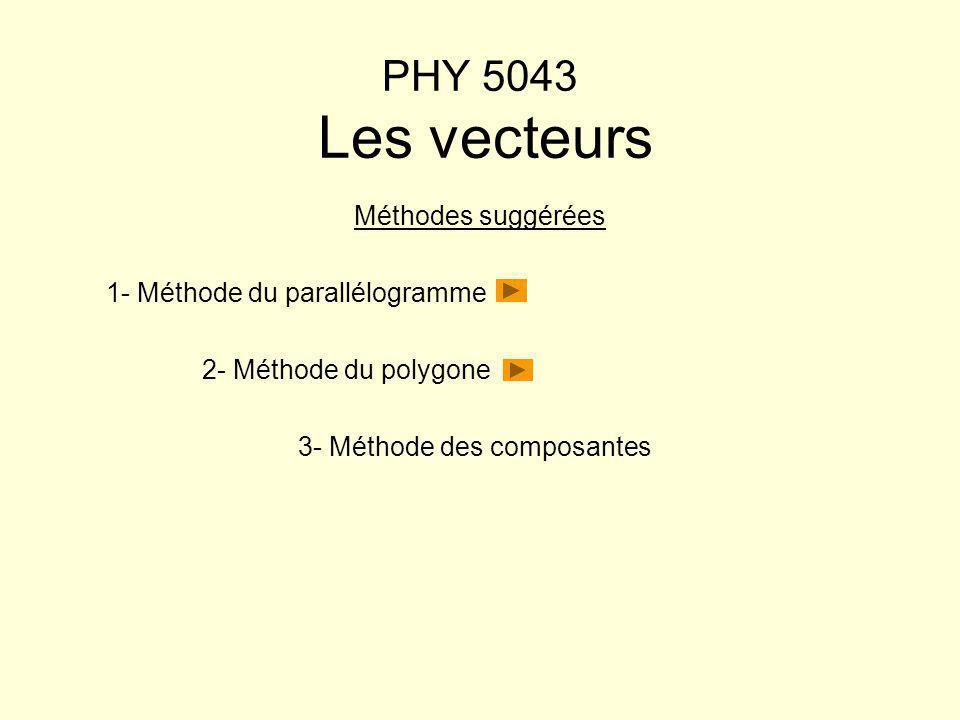 PHY 5043 Les vecteurs Méthodes suggérées 1- Méthode du parallélogramme