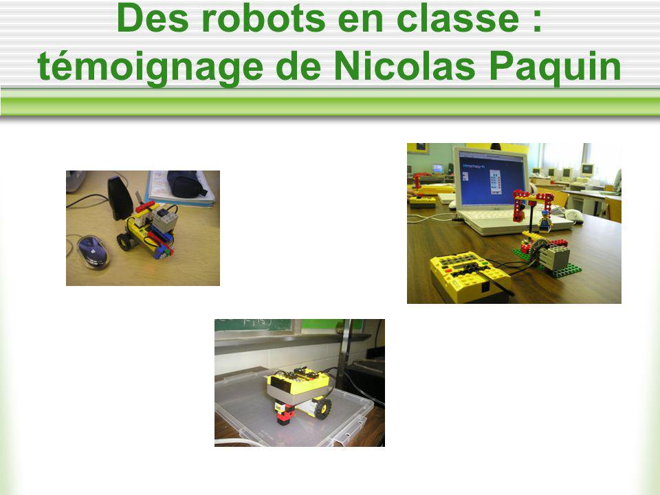 Des robots en classe : témoignage de Nicolas Paquin