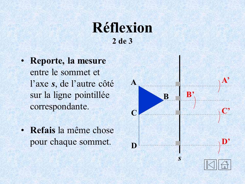 Réflexion 2 de 3 Reporte, la mesure entre le sommet et l'axe s, de l'autre côté sur la ligne pointillée correspondante.