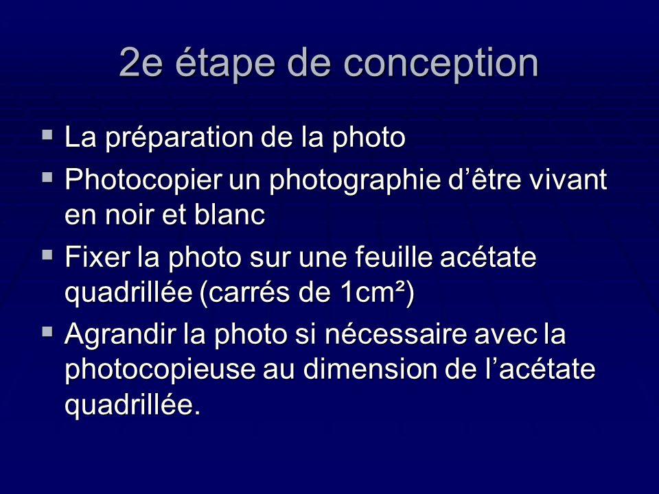 2e étape de conception La préparation de la photo