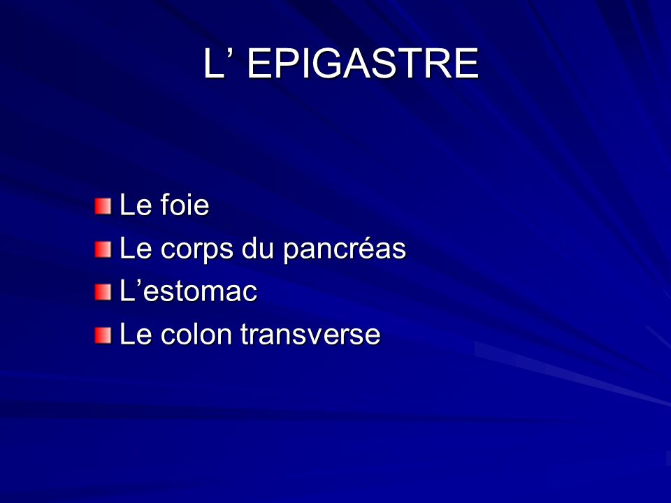 L' EPIGASTRE Le foie Le corps du pancréas L'estomac