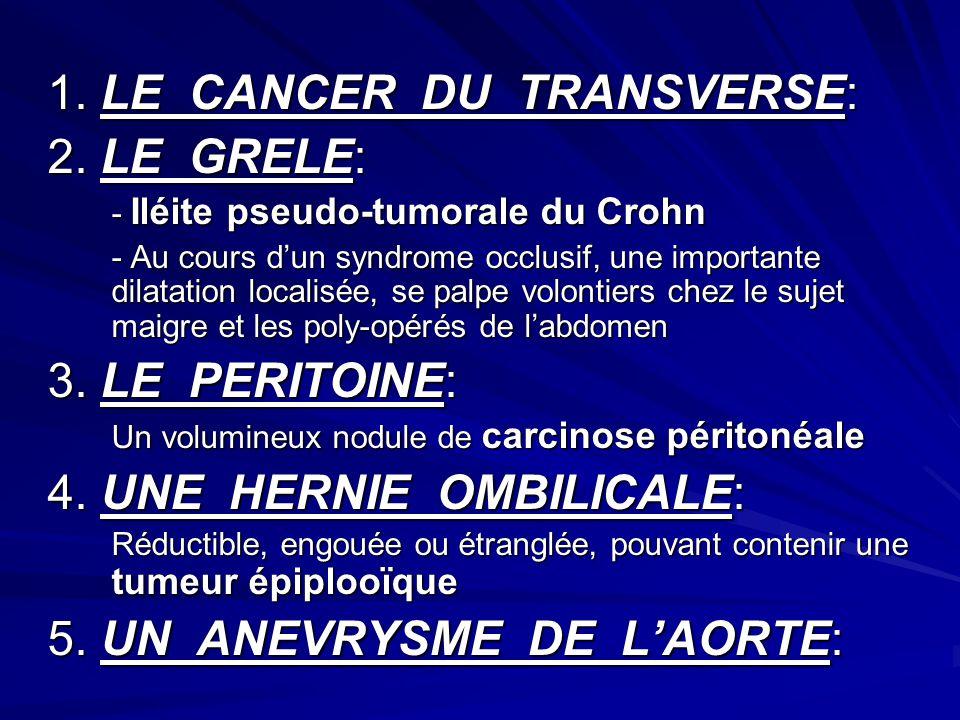 1. LE CANCER DU TRANSVERSE: 2. LE GRELE: