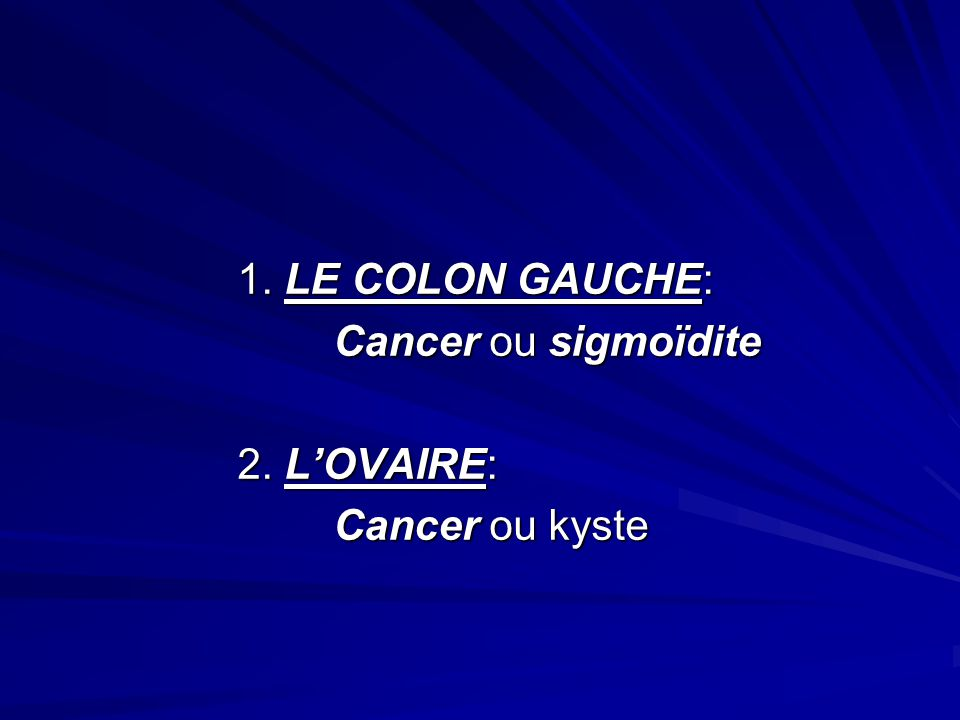 1. LE COLON GAUCHE: Cancer ou sigmoïdite 2. L'OVAIRE: Cancer ou kyste