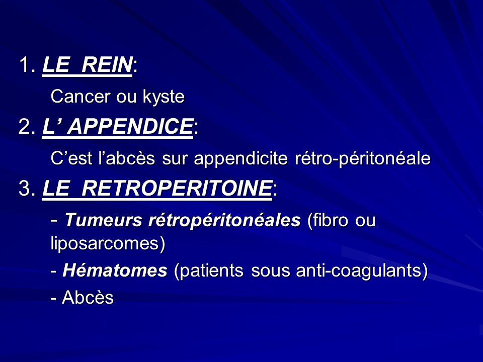 C'est l'abcès sur appendicite rétro-péritonéale 3. LE RETROPERITOINE: