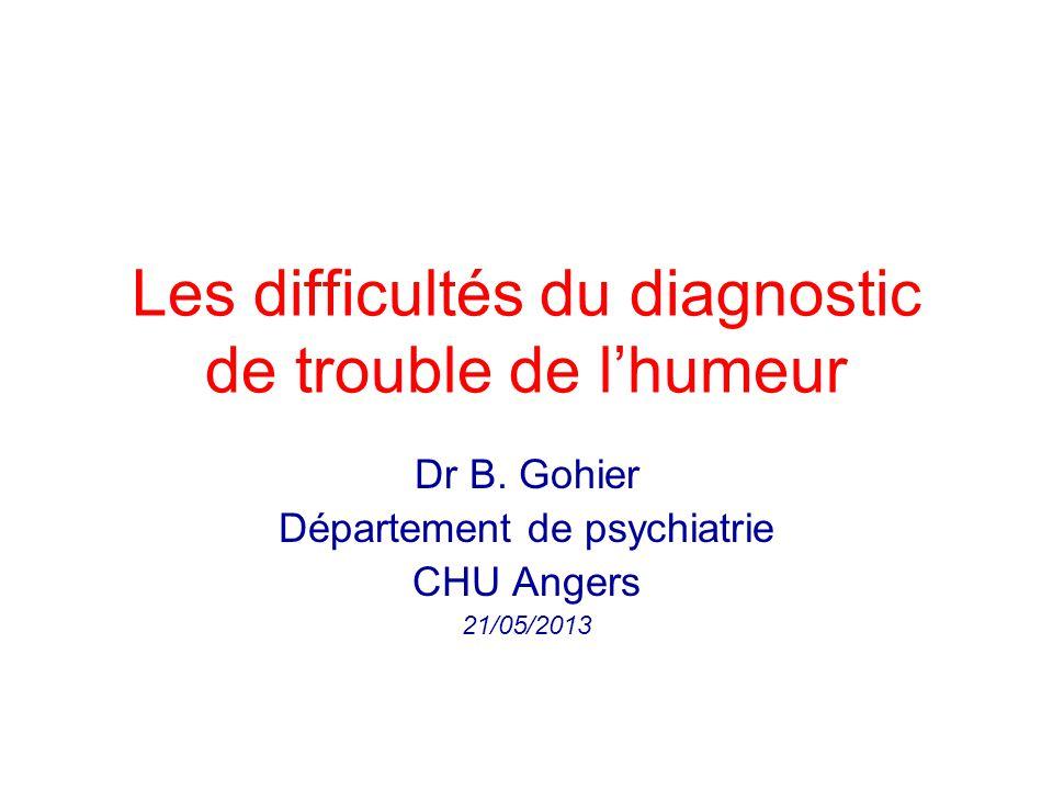 Les difficultés du diagnostic de trouble de l'humeur