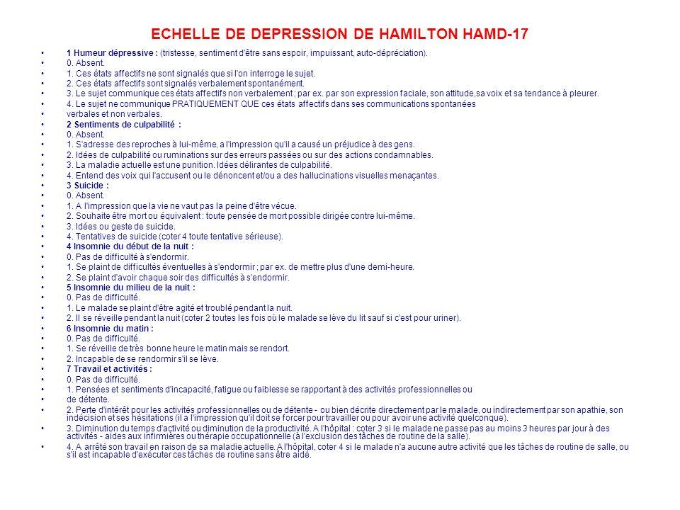 ECHELLE DE DEPRESSION DE HAMILTON HAMD-17