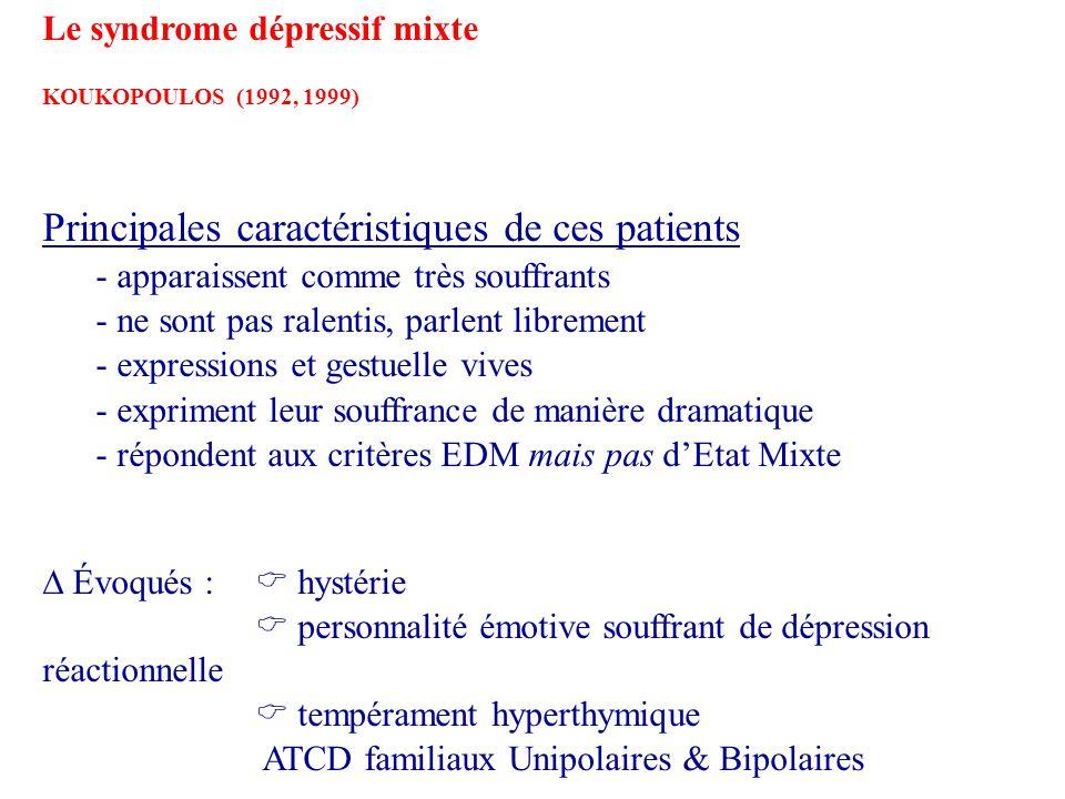 Principales caractéristiques de ces patients