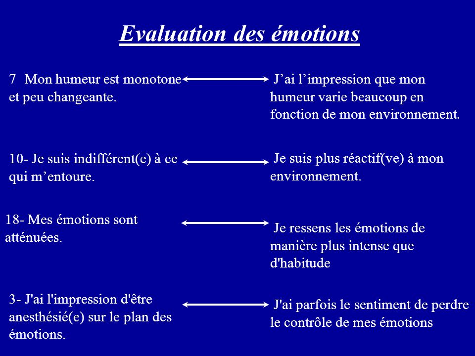 Evaluation des émotions