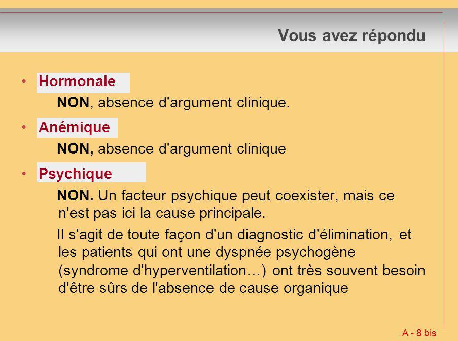 Vous avez répondu Hormonale NON, absence d argument clinique. Anémique