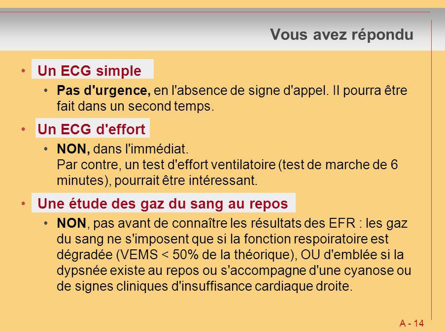 Vous avez répondu Un ECG simple Un ECG d effort