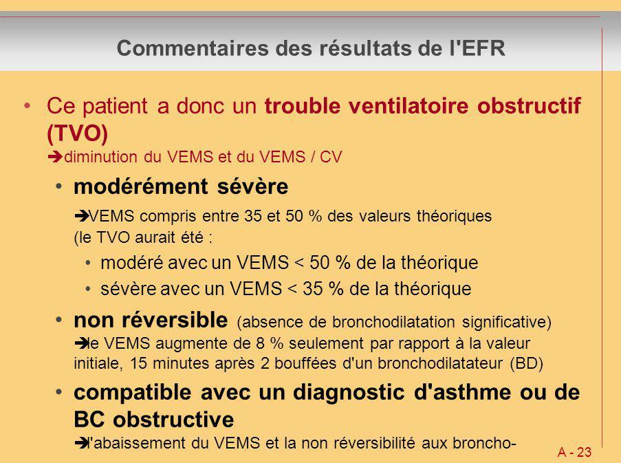 Commentaires des résultats de l EFR