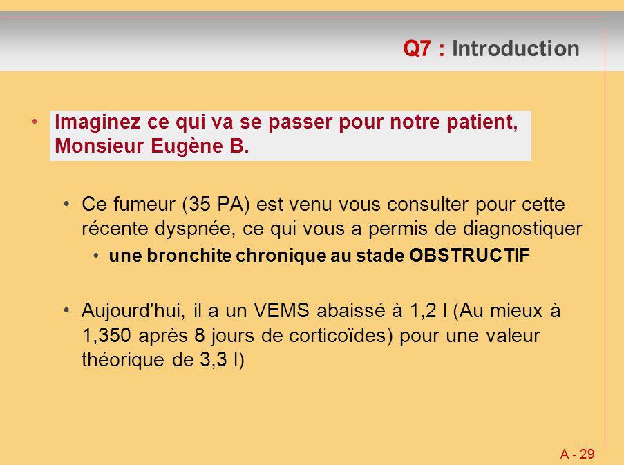 Q7 : Introduction Imaginez ce qui va se passer pour notre patient, Monsieur Eugène B.
