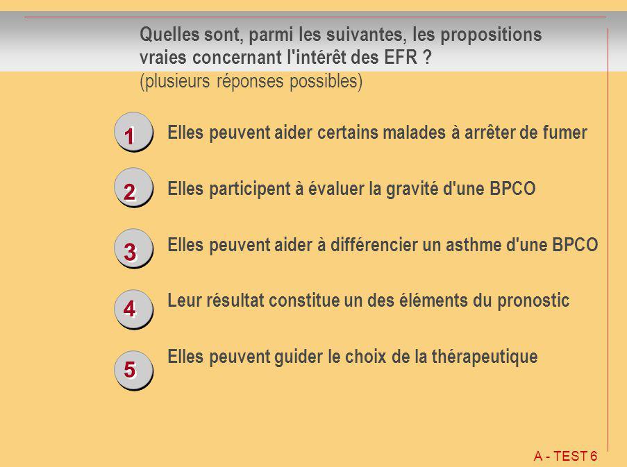 Quelles sont, parmi les suivantes, les propositions vraies concernant l intérêt des EFR (plusieurs réponses possibles)