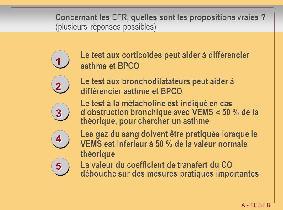 3 1 2 4 5 Concernant les EFR, quelles sont les propositions vraies