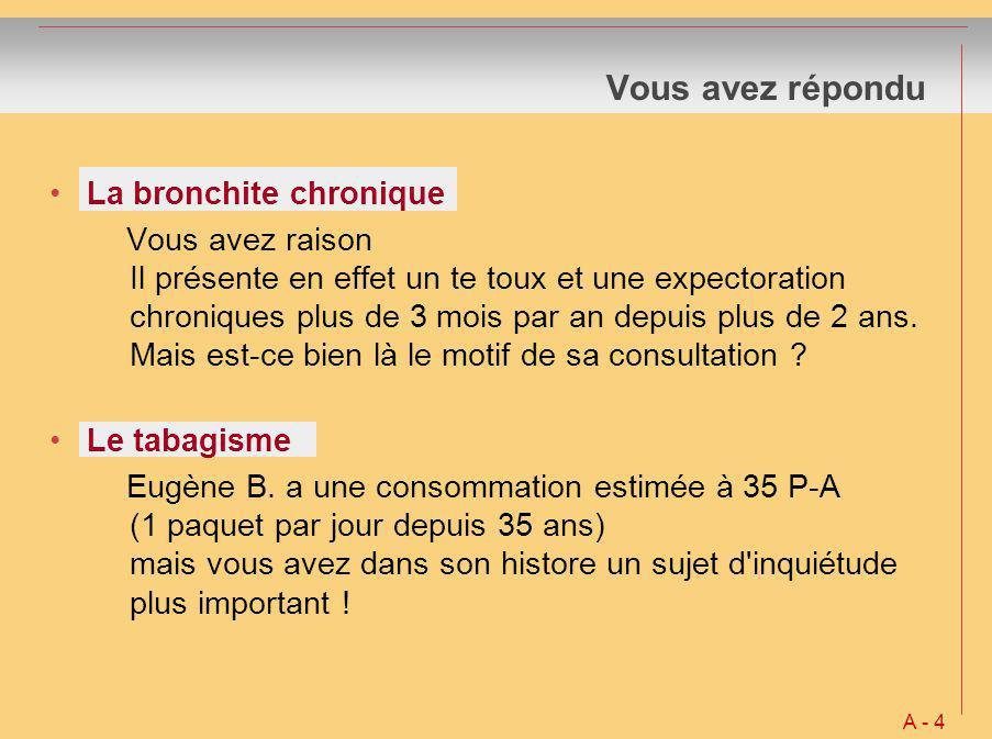 Vous avez répondu La bronchite chronique