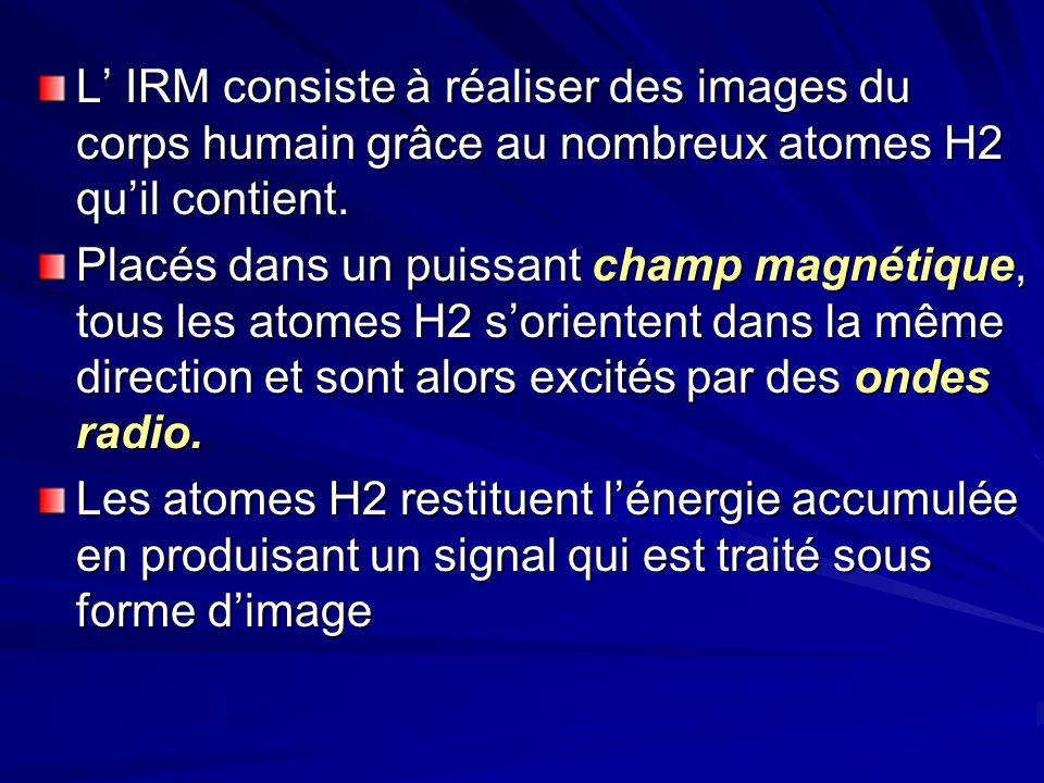 L' IRM consiste à réaliser des images du corps humain grâce au nombreux atomes H2 qu'il contient.
