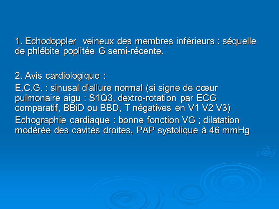 1. Echodoppler veineux des membres inférieurs : séquelle de phlébite poplitée G semi-récente.