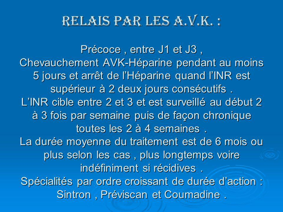RELAIS PAR LES A.V.K. : Précoce , entre J1 et J3 , Chevauchement AVK-Héparine pendant au moins 5 jours et arrêt de l'Héparine quand l'INR est supérieur à 2 deux jours consécutifs .