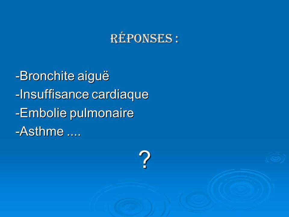 Réponses : -Bronchite aiguë -Insuffisance cardiaque