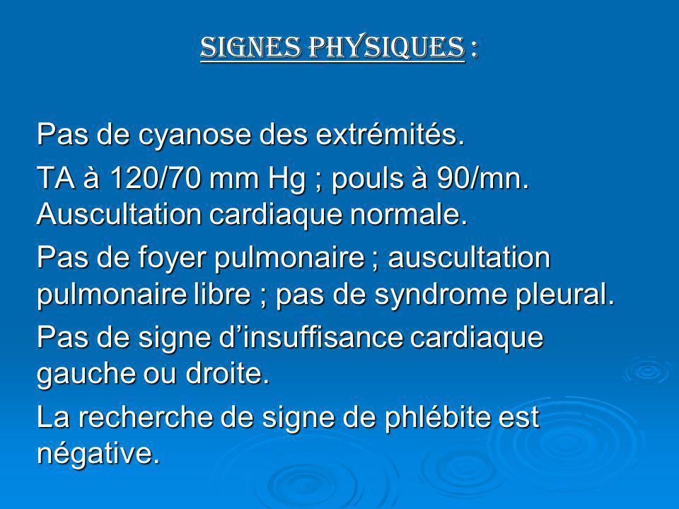 Signes physiques : Pas de cyanose des extrémités. TA à 120/70 mm Hg ; pouls à 90/mn. Auscultation cardiaque normale.