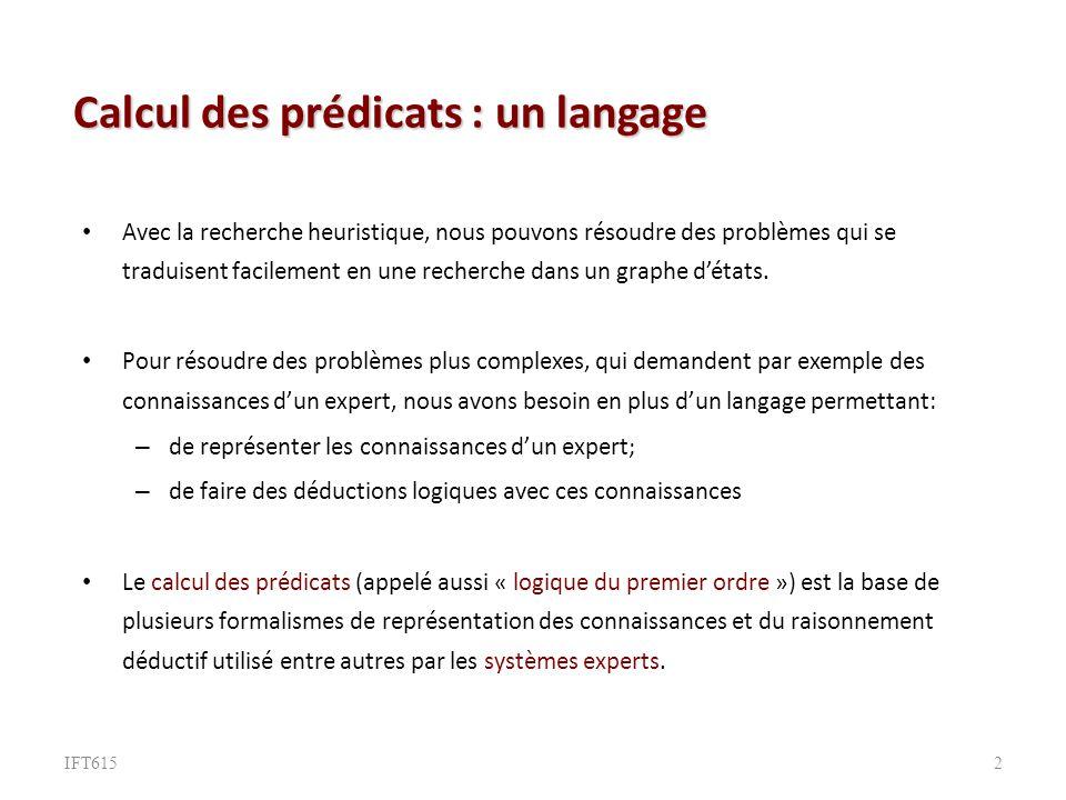 Calcul des prédicats : un langage