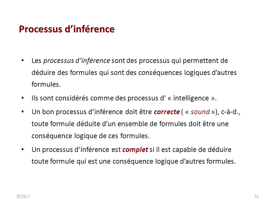Processus d'inférence