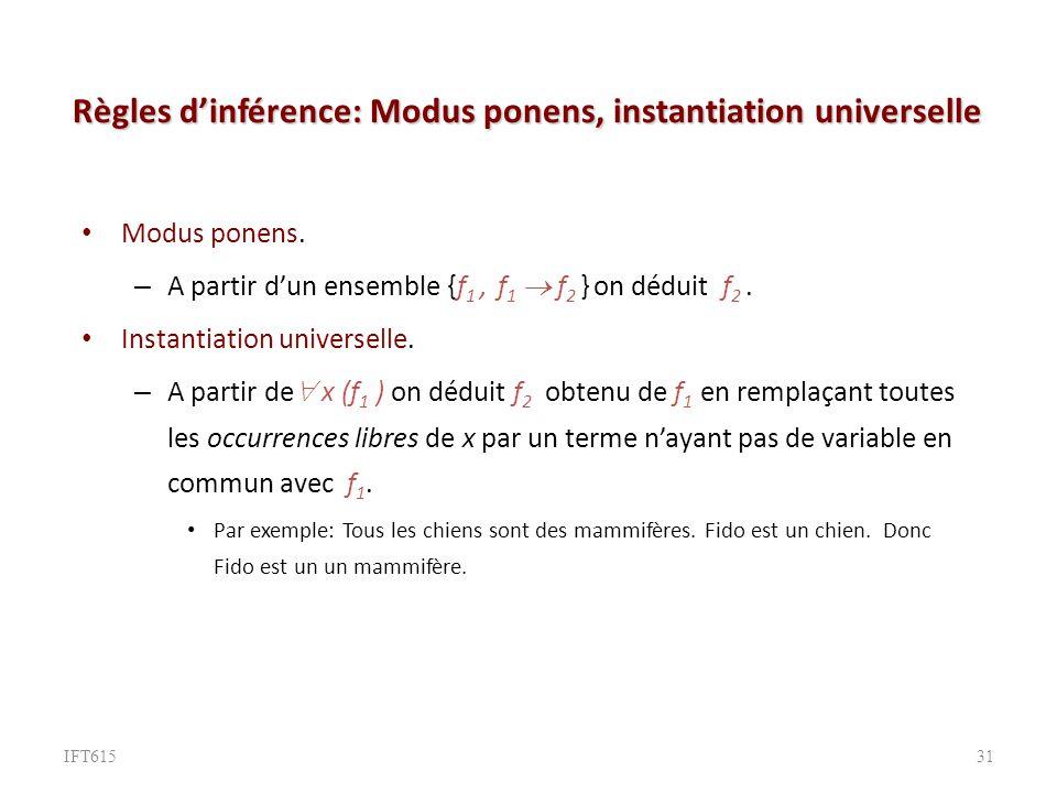 Règles d'inférence: Modus ponens, instantiation universelle