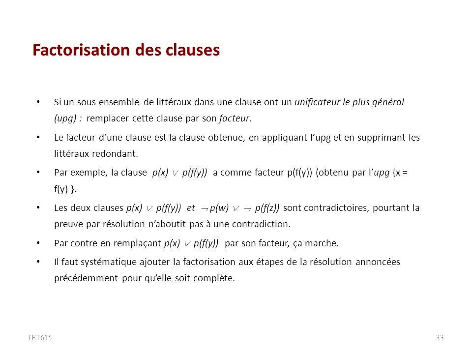 Factorisation des clauses