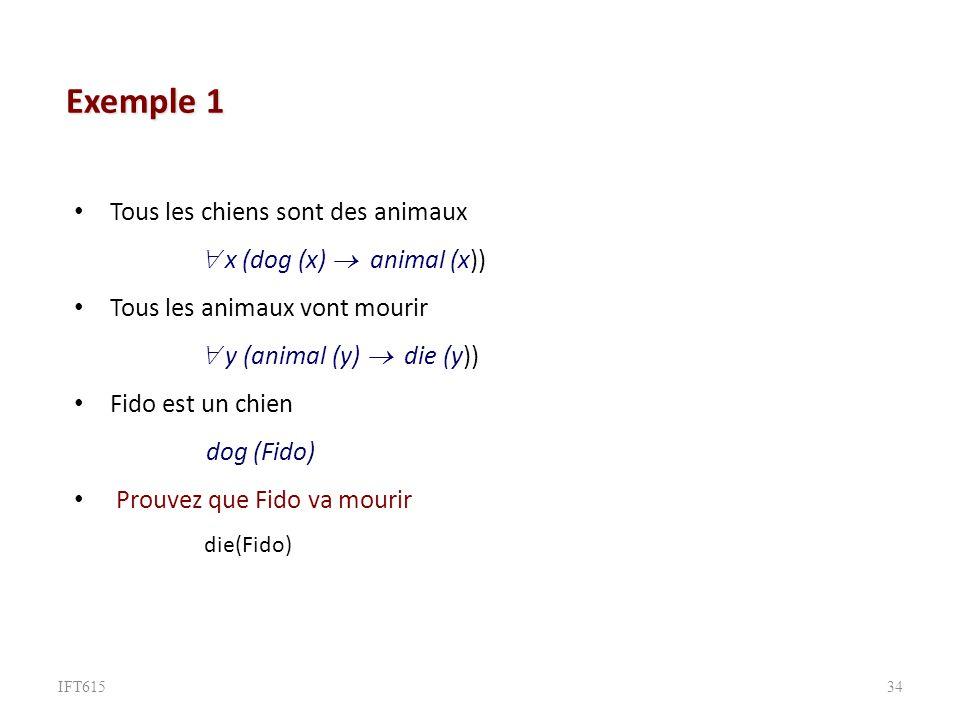 Exemple 1 Tous les chiens sont des animaux  x (dog (x)  animal (x))