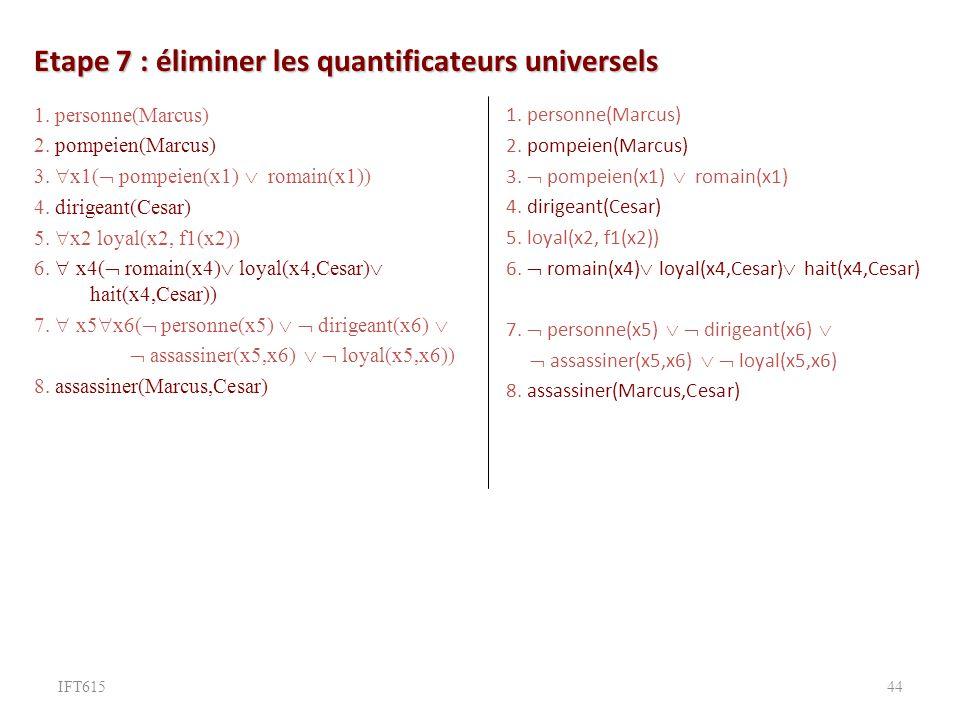 Etape 7 : éliminer les quantificateurs universels